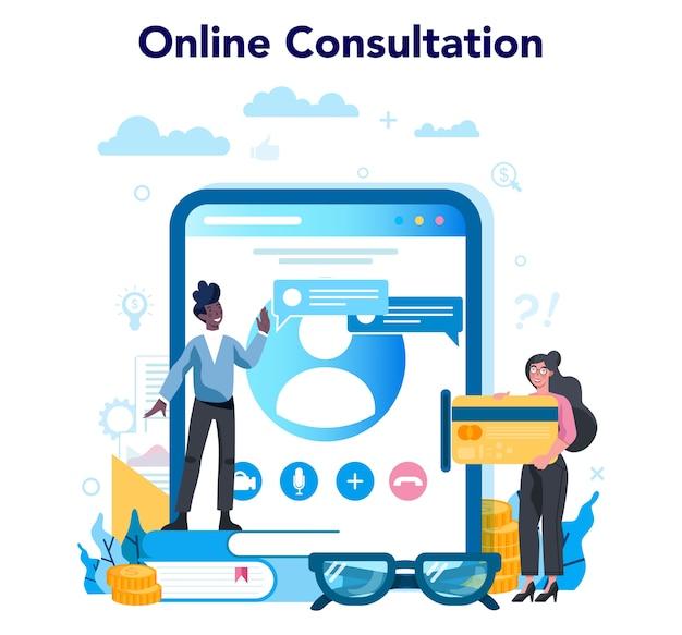 Audit du service ou de la plateforme en ligne. consultation en ligne sur la recherche et l'analyse des opérations commerciales. illustration vectorielle plane isolée