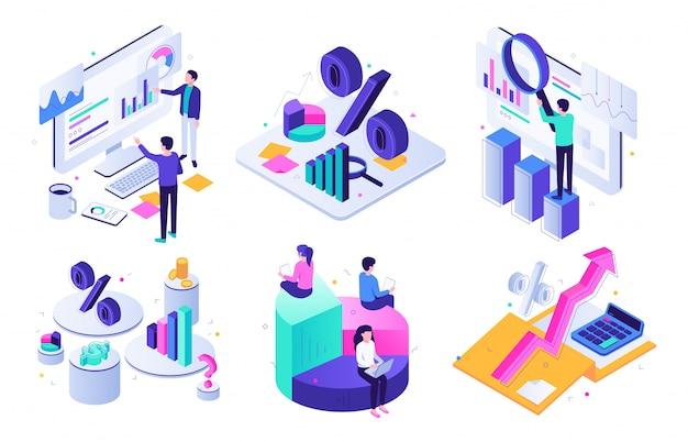 Audit financier. graphique du budget, expert fiscal et évaluation de l'équilibre des finances des entreprises ensemble d'illustration isométrique