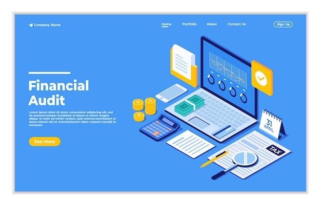 Audit financier en ligne avec des documents pour le calcul de l'impôt et la soumission