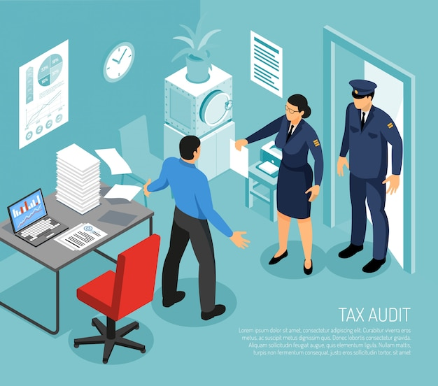 Audit fiscal au bureau d'affaires avec des inspecteurs et échec de la réunion de date limite comptable composition isométrique illustration vectorielle