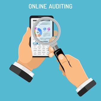 Audit en ligne, processus fiscal, concept de comptabilité