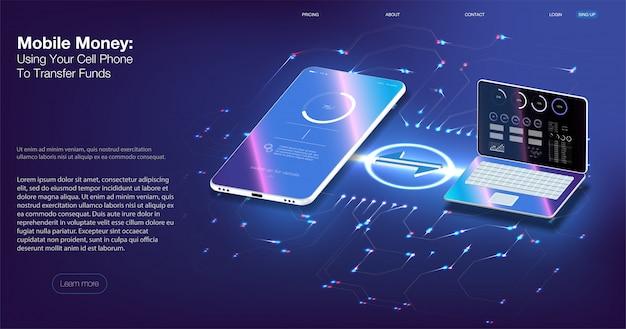Audit numérique. isométrique vector illustration smartphone avec carte de crédit.