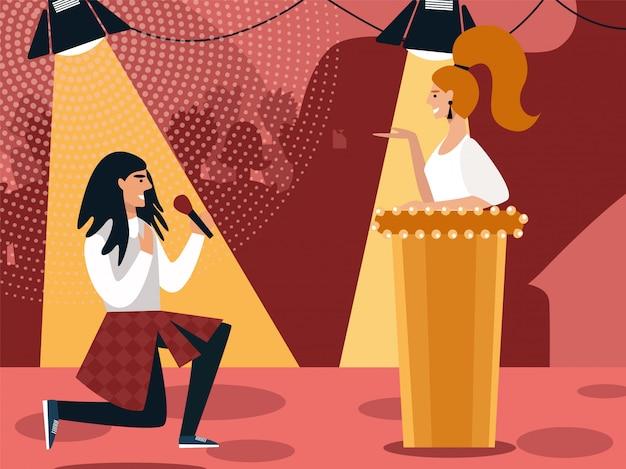 Audition de chanteur en studio de diffusion avec le juge