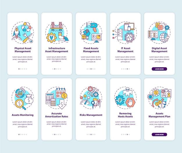 Augmentation des actifs investis sur l'écran de la page de l'application mobile d'intégration avec un ensemble de concepts