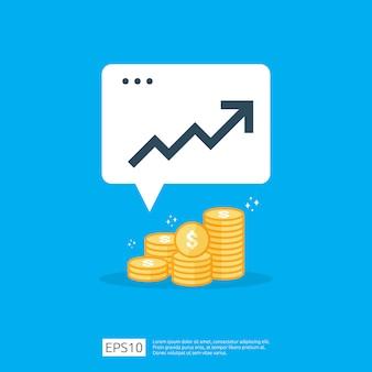 Augmentation du taux de salaire en dollars. revenus de marge de croissance des bénéfices des entreprises. finance performance du concept de retour sur investissement retour sur investissement avec flèche. style de vente icône plat