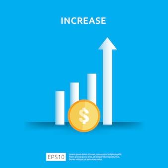 Augmentation du taux de salaire. graphique des revenus de marge de croissance graphique. finance la performance du retour sur investissement roi concept avec élément de flèche. conception de style plat
