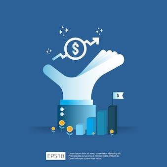 Augmentation du taux de salaire. revenus de marge de croissance des bénéfices des entreprises. finance la performance du retour sur investissement roi concept avec flèche. icône de coût de vente. style plat symbole dollar