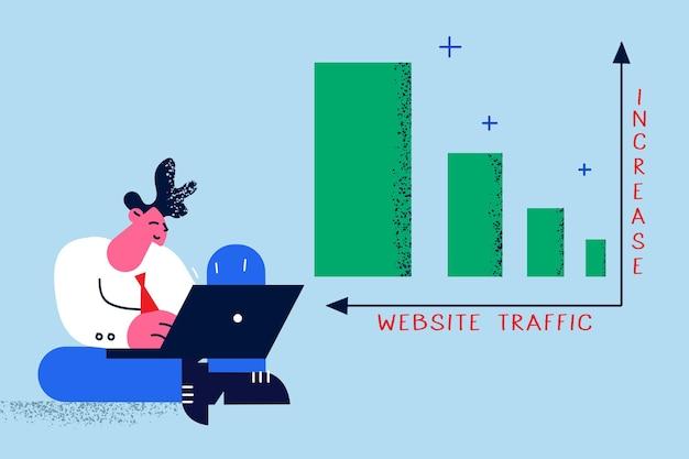 Augmentation du trafic sur le site web dans le concept d'entreprise