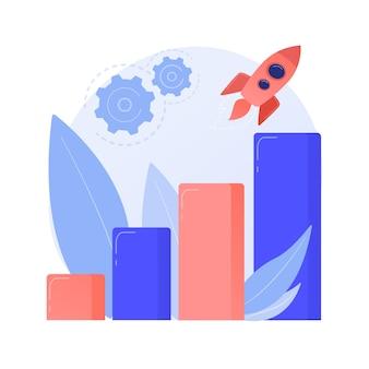 Augmentation des performances de l'ordinateur. transmission de données rapide de fusée. mesure de puissance, cadran avec pointeur, échelle avec flèche. indicateur de temps de réponse. illustration de métaphore de concept isolé de vecteur.