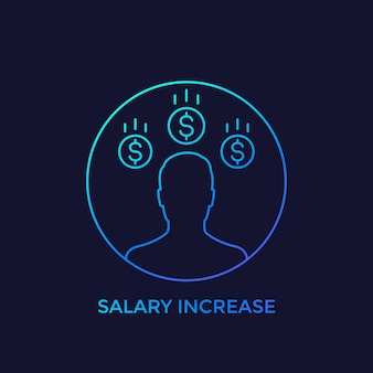 Augmentation de salaire, icône linéaire