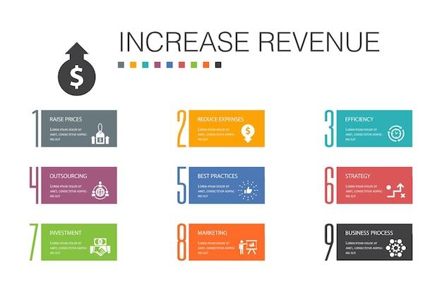 Augmenter les revenus infographie 10 concept de ligne d'option. augmenter les prix, réduire les dépenses, les meilleures pratiques, les icônes simples de stratégie