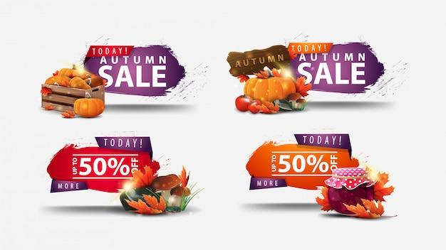 Aujourd'hui, vente d'automne, -50% de réduction, ensemble de bannières web de réduction d'automne dans des formes abstraites avec coins regged et éléments d'automne isolés sur fond blanc
