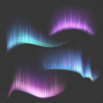 Aurore boréale, bandes lumineuses isolées sur transparent