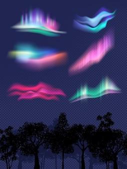 Aurores boréales. effets lumineux réalistes dans les effets météorologiques du ciel dans les modèles vectoriels de nuit. illustration de la veilleuse du nord, luminescence magique de la galaxie