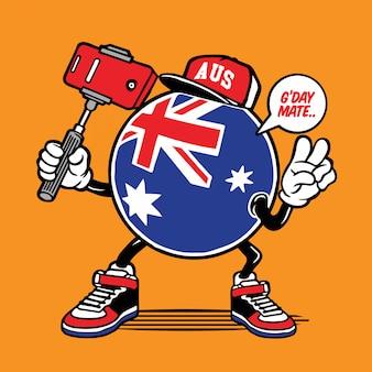 Australie drapeau selfie caractère
