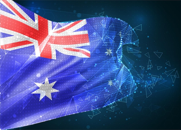 Australie, drapeau vectoriel, objet 3d abstrait virtuel à partir de polygones triangulaires sur fond bleu