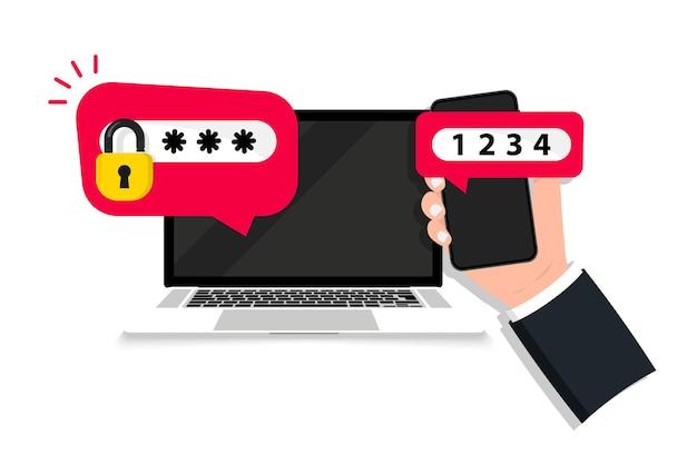Authentification en deux étapes. connexion sécurisée, vérification en deux étapes avec téléphone portable et ordinateur portable. authentification. vérifiez la demande d'autorisation. vérification duo. certificat sécurisé, authentification d'identité