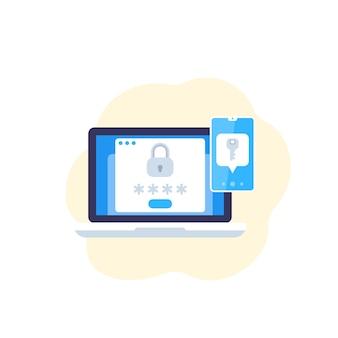 Authentification en deux étapes, icône plate vectorielle