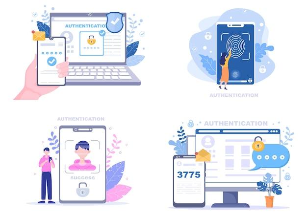 Authentification Sécurité Plat Vecteur Premium