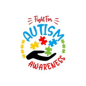 L'autisme Cite Le Vecteur Svg De Lettrage Vecteur Premium