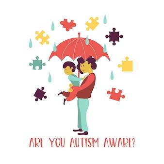 Autisme. signes précoces du syndrome de l'autisme chez l'enfant. emblème de vecteur. icône tsa des troubles du spectre autistique des enfants. signes et symptômes de l'autisme chez un enfant.