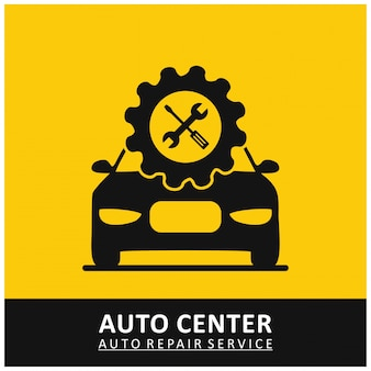 Auto center service de réparation automatique gear icon avec outils et car yellow background