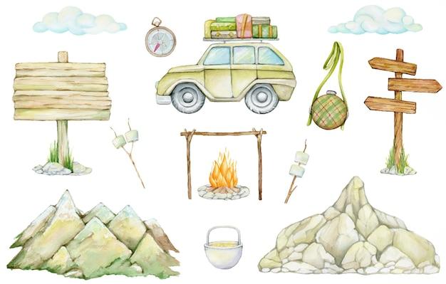 Auto, guimauves, montagnes, pointeurs en bois, nuages, feu de joie, boussole