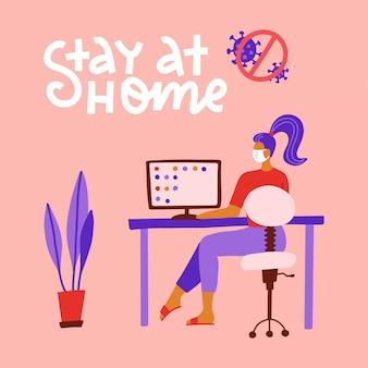 Auto-isolement d'une pandémie. travail à domicile pendant le concept covid-19. reste à la maison. travail à distance depuis la maison pendant la quarantaine du coronavirus. femme travaillant sur pc, assis à la table. plat