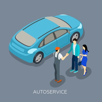 Auto service isometric mechanic clients composition