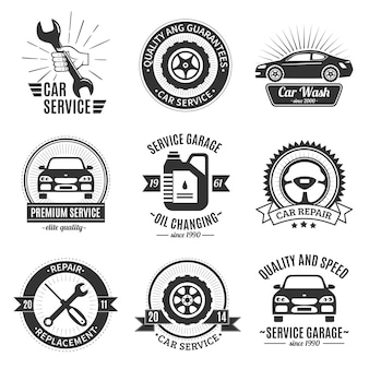 Auto services black white emblems