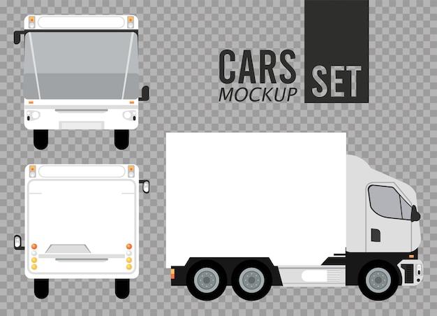 Autobus blancs et véhicules de voitures de maquette de camion