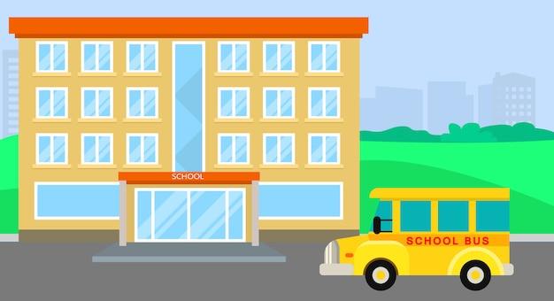 Autobus scolaire arrivant, style plat