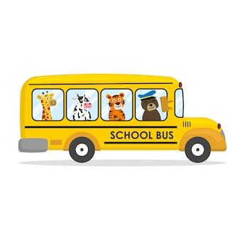 Autobus scolaire de dessin animé mignon avec des animaux