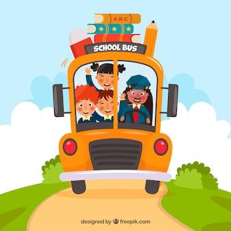 Autobus scolaire et enfants avec un design plat
