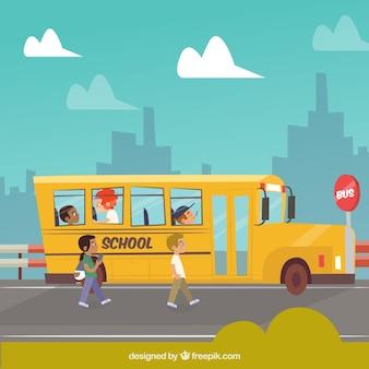 Autobus scolaire et étudiants avec un design plat