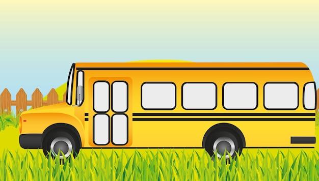 Autobus scolaire herbe fond illustration vectorielle