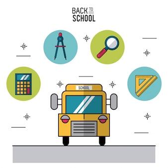 Autobus scolaire et icônes dans les cadres ronds des éléments de l'école