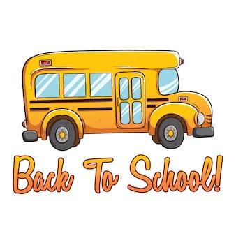 Autobus scolaire mignon avec couleur et retour au texte de l'école en utilisant le style dessiné à la main ou doodle