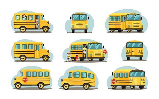 Autobus scolaire sous diverses formes