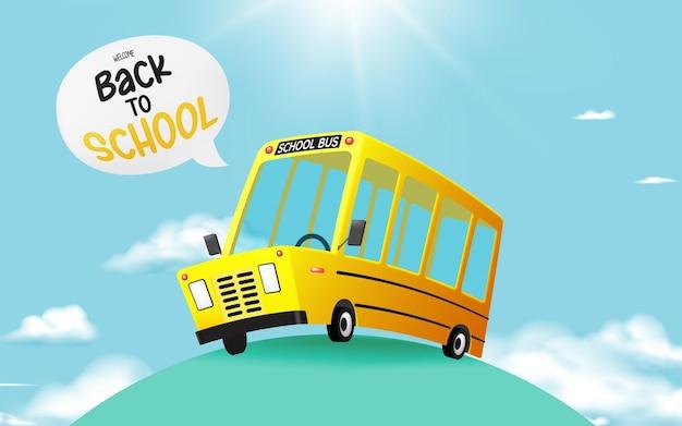 Autobus scolaire style art 3d conduisant sur la route avec une belle illustration vectorielle de fond de ciel