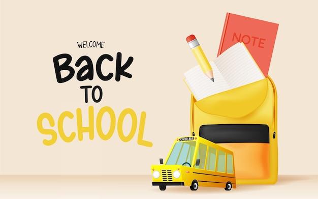 Autobus scolaire style art 3d avec illustration vectorielle de fournitures scolaires