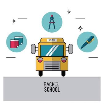 Autobus scolaire et stylo et feuille et boussole