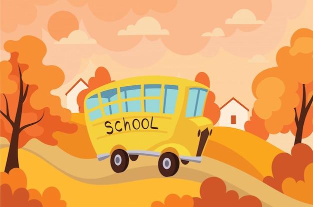 Autobus scolaire voyageant avec des enfants à l'école. illustration du bus jaune avec les écoliers.