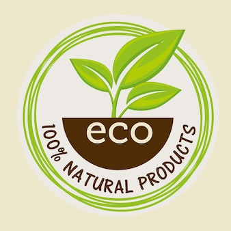 Autocollant 100% naturel avec des feuilles et du sol sur fond beige. illustration vectorielle
