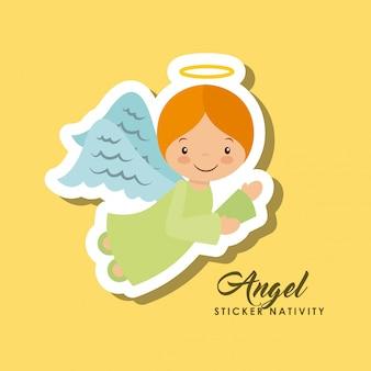 Autocollant ange nativité