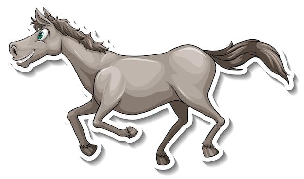 Autocollant animal de dessin animé de cheval gris en cours d'exécution