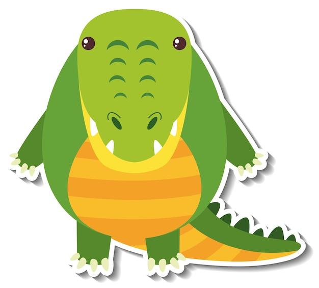 Un autocollant animal mignon de bande dessinée de crocodile joufflu
