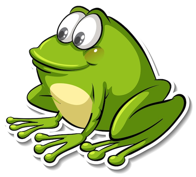 Un autocollant animal mignon de bande dessinée de grenouille