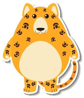 Un autocollant animal mignon de bande dessinée de léopard