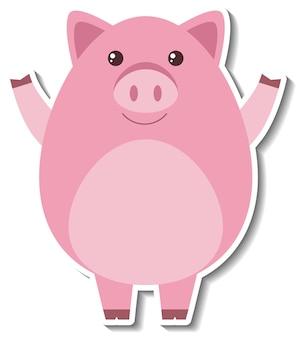 Un autocollant animal mignon de bande dessinée de porc
